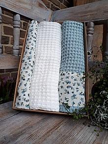 Úžitkový textil - Darčeková sada Blue Flowers - 11234778_