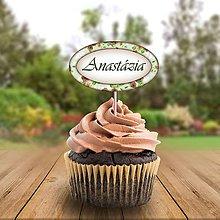 Papiernictvo - Menovka na cupcake romantická  (kávová) - 11233114_