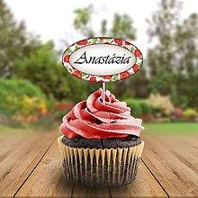 Papiernictvo - Menovka na cupcake romantická  (čerešňová) - 11233118_