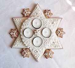 Dekorácie - Medovníkový adventný veniec hviezda - 11236299_