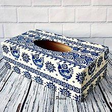Krabičky - Krabica na papierové vreckovky- modrotlač - 11238000_
