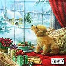 Papier - S1455 - Servítky - Vianoce, okno, psík - 11237131_