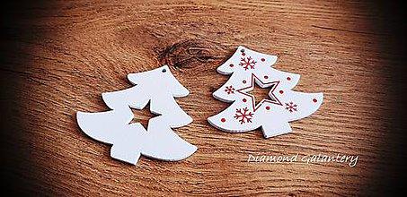 Galantéria - Vianočný výlisok Stromček - BIely - 11237027_