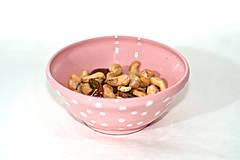 Nádoby - Ružová mištička s bodkami - 11235694_