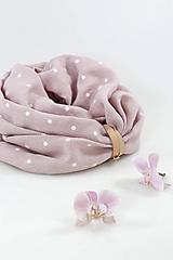 Šály - Veľký dvojitý ľanový nákrčník prekrásnej ružovej farby s bodkami - 11236179_