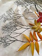 """- Maľovaný šál farby natural, 100% francúzsky ľan """"stromy"""" - 11235816_"""
