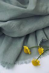 - Šál sivozelenopetrolejovej farby, 100% francúzsky ľan - 11235903_