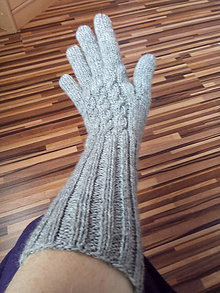 Rukavice - Ručne pletené vlnené prstové rukavice - 11236105_
