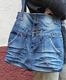 Nákupné tašky - recy-taška rifľová - 11236149_