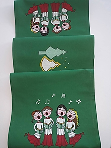 Úžitkový textil - Maľovaný obrus stredový, zelený, 126 x 24 cm - 11235585_