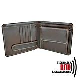 Tašky - RFID pánska kožená peňaženka v hnedej farbe - 11237401_