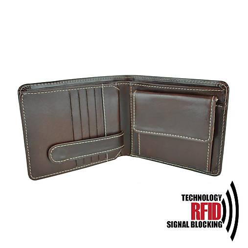 RFID pánska kožená peňaženka v hnedej farbe