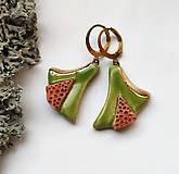 Náušnice - Keramické náušnice - Jabĺčkovo zelené so škoricou a zlatom - 11235619_