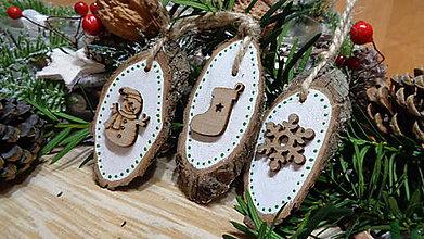 Dekorácie - Vianočné ozdoby drevená maľované - 11238540_