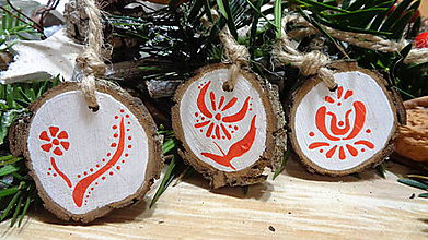 Dekorácie - Vidiecke Vianočné ozdoby folklórne - cena za sadu! - 11238701_