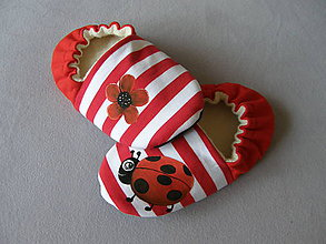 Topánočky - Detské papučky lienkové - 11237187_