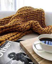 Úžitkový textil - Mirtillo merino deka BABY (Horčicová) - 11238794_