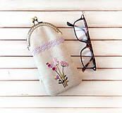 Taštičky - Púzdro na okuliare Fialové kvietky - 11235567_