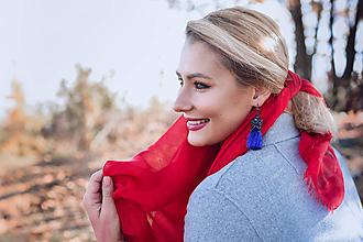 Náušnice - Strapcové náušnice modré / tassel earrings - 11237409_
