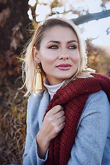 Náušnice - Dlhé strapcové náušnice žlté / tassel earrings - 11237585_