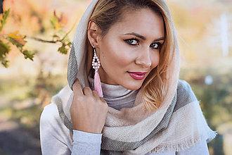 Náušnice - Strapcové náušnice ružové / tassel earrings - 11237591_