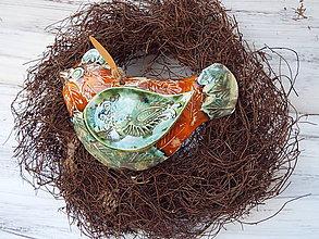 Socha - Vtáčik v hniezdočku (Oranžová) - 11236358_