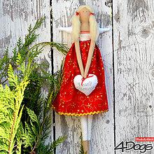 Bábiky - Vianočný anjel (Červená) - 11236042_