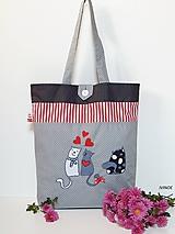 Nákupná taška - zaľúbené mačičky