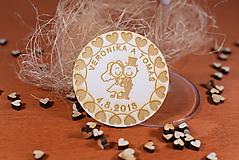 Darčeky pre svadobčanov - Drevená svadobná magnetka Ľudový motív 7 - 11235884_