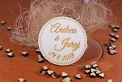Darčeky pre svadobčanov - Drevená svadobná magnetka Ľudový motív 8 - 11235885_
