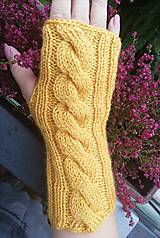 Rukavice - Bezprstové rukavičky horčicové - 11235954_