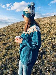 Svetre/Pulóvre - Tyrkysový sveter s nórskym kruhovým sedlom - 11242403_