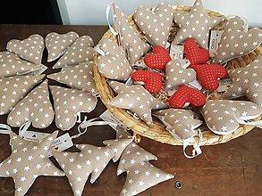 Dekorácie - Vianočné dekorácie/červená-zlatá bodka & hviezdičky - 11239645_