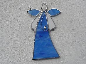 Dekorácie - Vitrážový anjelik s perleťou (Modrá) - 11239260_