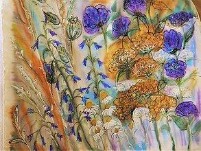 Šatky - Podzimní louka /hedvábný šátek 55 x 55 cm/ - 11241716_