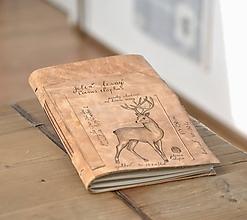 Papiernictvo - kožený zápisník CERVUS ELAPHUS - 11239128_