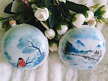 Dekorácie - Vianočné medailóny - Zimná krajina - 11240311_