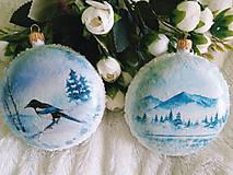 Dekorácie - Vianočné medailóny - Zimná krajina - 11240313_
