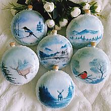 Dekorácie - Vianočné medailóny - Zimná krajina - 11240310_