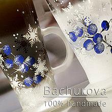 Kytice pre nevestu - Vianočný sklenený hrnček_modrá - 11241575_