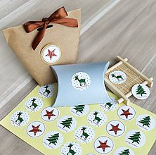 Papier - Vianočné nálepky, mix 12 ks - 11241415_
