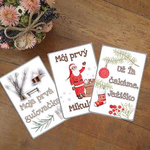 Miľníkové kartičky zimné (vianočné) 10 ks (A5)