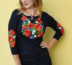 Tričká - Folklórne, vyšívané, dámske tričko, deva (čierne  Skladom: S,M,L) - 11241299_