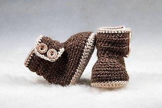 Topánočky - Teplé capačky pre bábätko, hnedé - 11240153_