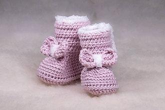 Topánočky - Teplé capačky pre bábätko, staroružové - 11240249_