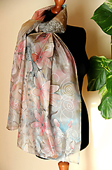 Šály - Hodvábny maľovaný šedo-ružový... - 11240157_