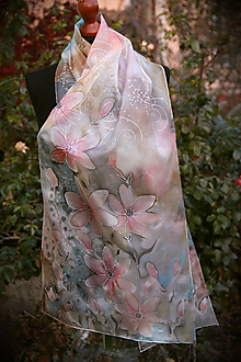 Šály - Hodvábny maľovaný šedo-ružový... - 11240195_