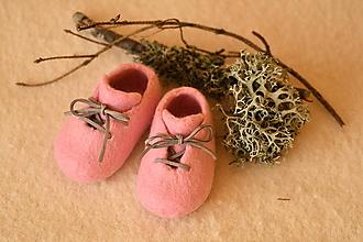 Topánočky - plstené capačky - ružové - 11240006_