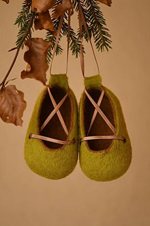 Topánočky - plstené capačky - zeleno-hnedé - 11240630_