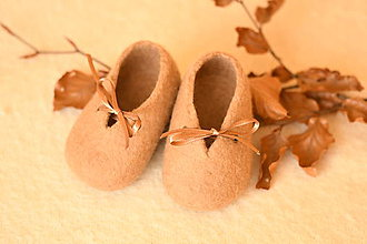 Topánočky - vlnené plstené capačky 9cm - bledohnedé uni - 11240712_